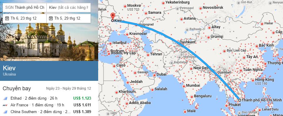 Tham khảo hành trình bay đến Kiev từ Việt Nam
