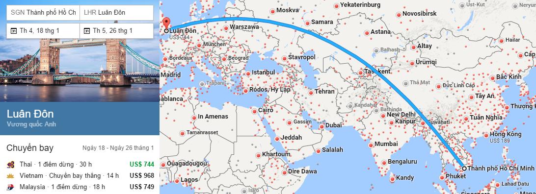 Tham khảo hành trình bay từ TPHCM đến London
