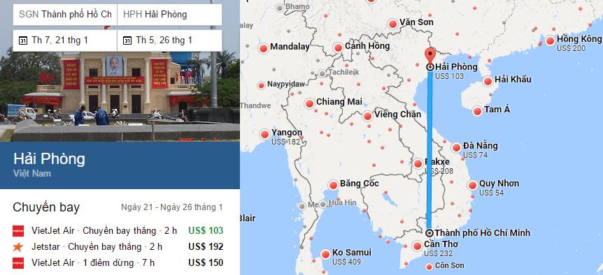 Tham khảo hành trình bay từ TP HCM đến Hải Phòng bằng vé máy bay đi Hải Phòng