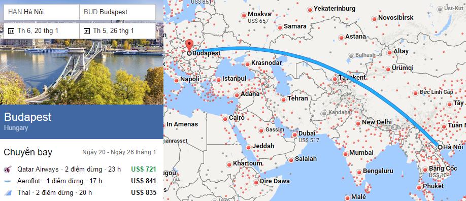 Tham khảo hành trình bay từ Hà Nội đến Budapest