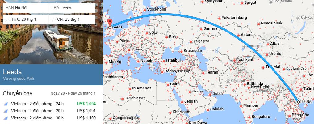 Tham khảo hành trình bay từ Hà Nội đến Leeds