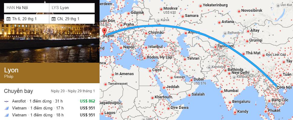 Tham khảo hành trình bay từ Hà nội đến Lyon