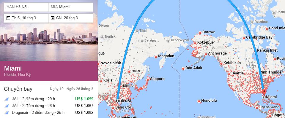Tham khảo hành trình bay từ Hà Nội đến Miami