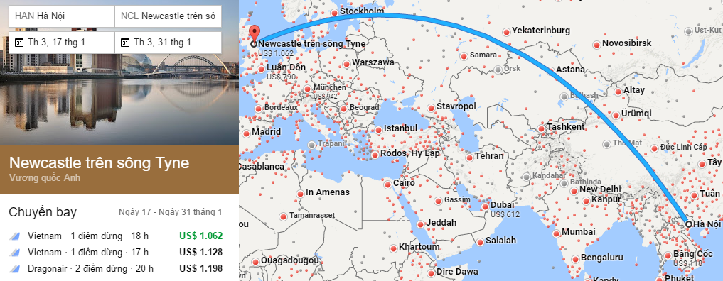 Tham khảo hành trình bay từ Hà Nội đến Newcastle