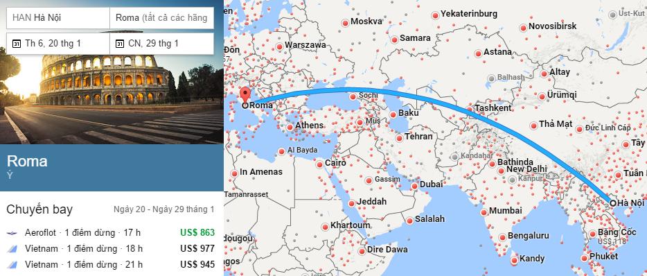 Tham khảo hành trình bay từ Hà nội đến Rome