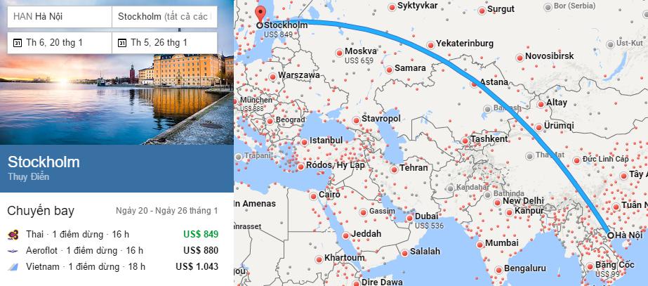 Tham khảo hành trình bay từ Hà Nội đến Stockholm