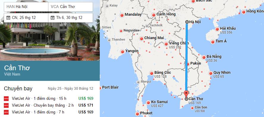 Tham khảo hành trình bay từ Hà Nội đến Cần Thơ