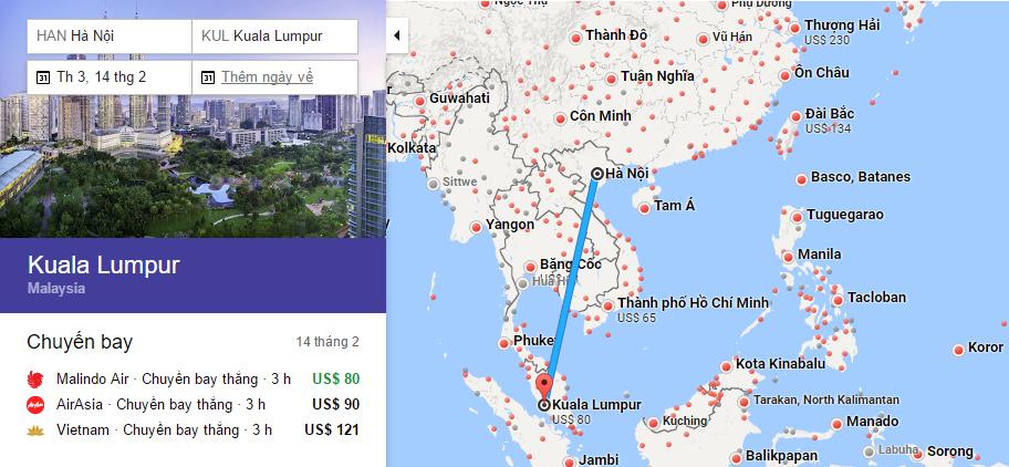 Bản đồ đường bay chặng Hà Nội - Kuala Lumpur
