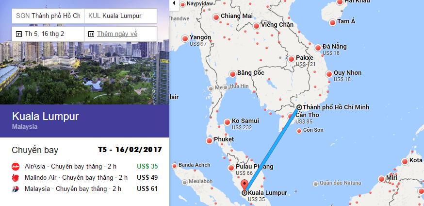 Bản đồ đường bay chặng HCM - Kuala Lumpur