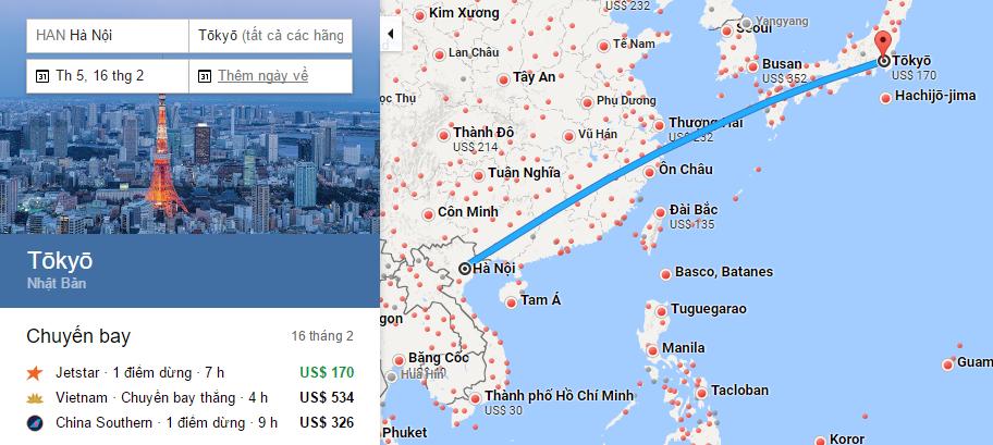 Bản đồ đường bay chặng Hà Nội - Tokyo
