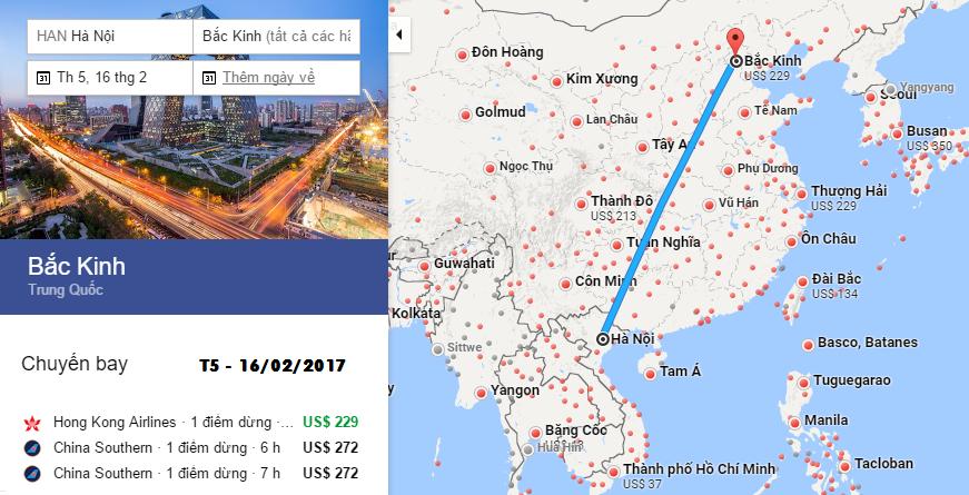 Bản đồ đường bay từ Hà Nội đến Bắc Kinh
