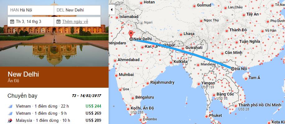 Bản đồ đường bay chặng Hà Nội - New Delhi, Ấn Độ