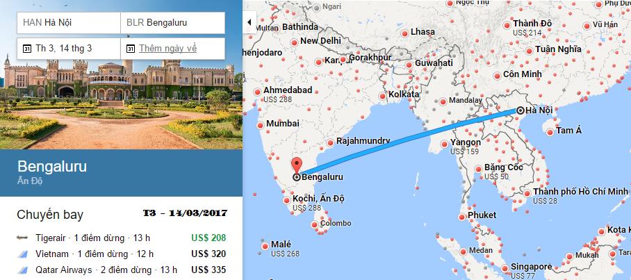 Bản đồ đường bay chặng Hà Nội - Bangalore