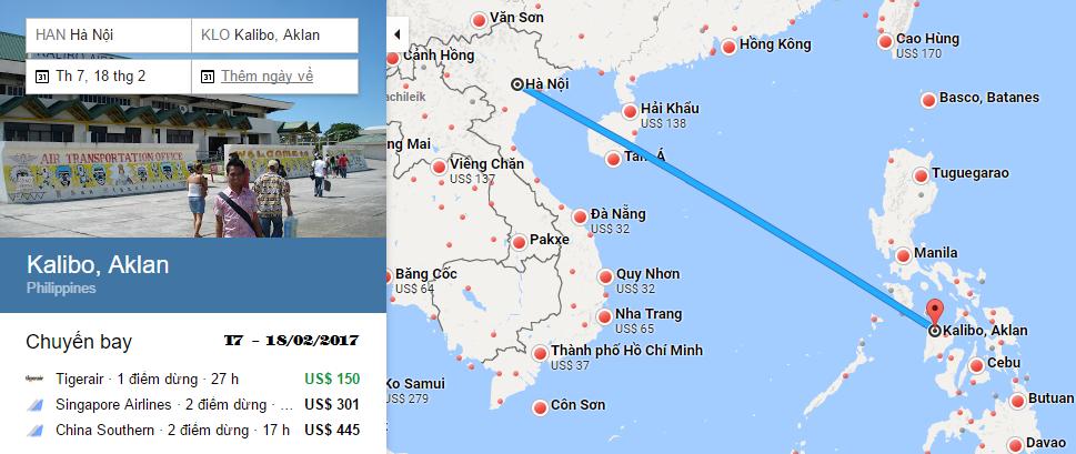 Bản đồ đường bay chặng Hà Nội - Boracay, Kalibo