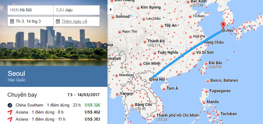 Bản đồ đường bay từ Hà Nội đi Jeju