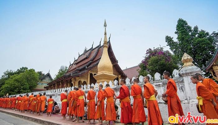 Các nhà sư đi khất thực buối sớm ở Luang Prabang