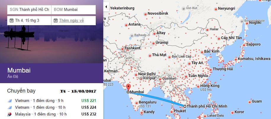 Bản đồ đường bay chặng Hồ Chí Minh - Mumbai