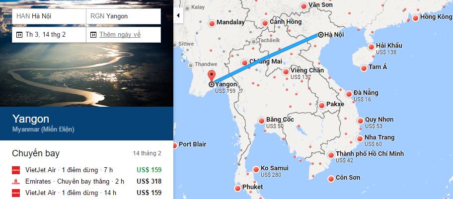 Bản đồ đường bay chặng Hà Nội - Yangon, Myanmar