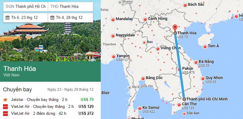 Tham khảo hành trình bay từ TP HCM đến Thanh Hóa bằng vé máy bay đi Thanh Hóa