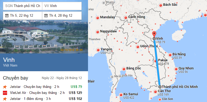 Tham khảo hành trình bay từ TP HCM đến Vinh bằng vé máy bay đi Vinh