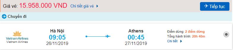 Vé máy bay đi Athens từ Hà Nội