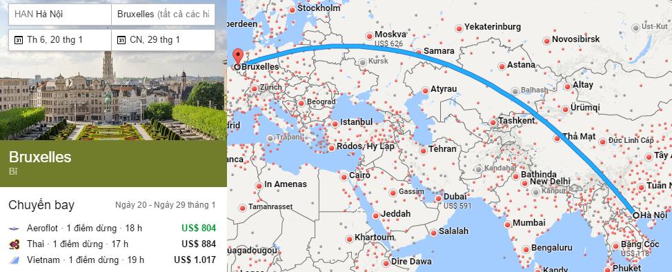 Tham khảo hành trình bay từ Hà Nội đến Brussels