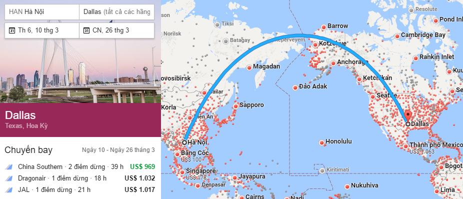 Tham khảo hành trình bay từ Hà Nội đi Dallas