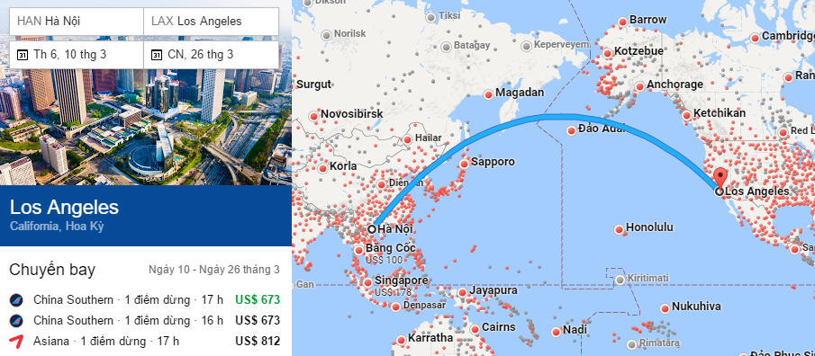 Tham khảo hành trình bay từ Hà nội đến Los Angeles
