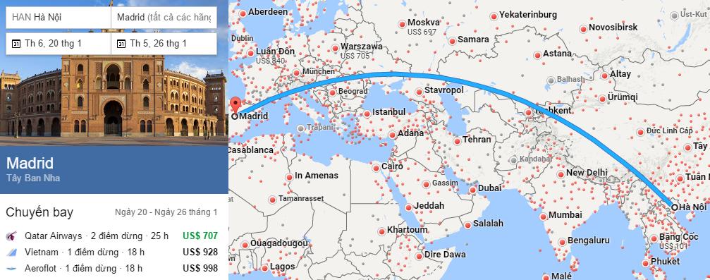 Tham khảo hành trình bay từ Hà nội đến Madrid