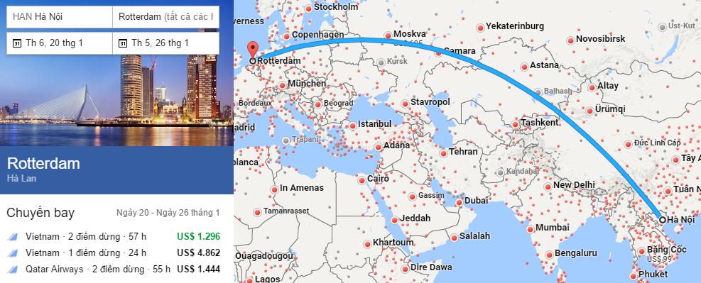 Tham khảo hành trình bay từ Hà Nội đến Rotterdam