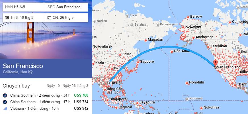 Tham khảo hành trình bay từ Hà Nội đến San Francisco