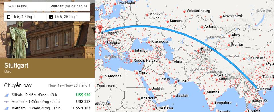 Tham khảo hành trình bay từ Việt Nam đến Stuttgart