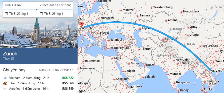 Tham khảo hành trình bay từ Hà Nội đến Zurich