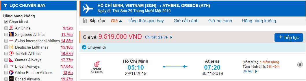 Vé máy bay đi Hy Lạp từ Hồ Chí Minh