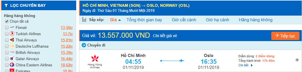 Vé máy bay đi Na Uy từ Hồ Chí Minh