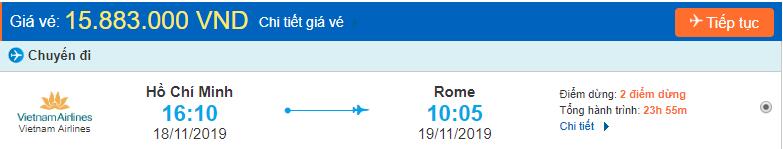 Vé máy bay đi Italia từ Hồ Chí Minh