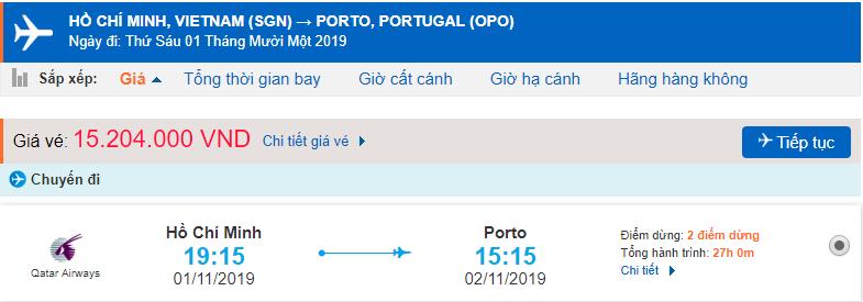 Vé máy bay đi Porto từ Hồ Chí Minh
