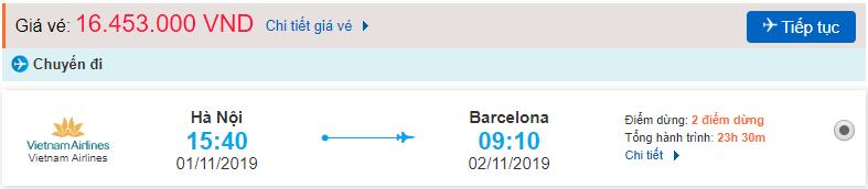 Vé máy bay đi Barcelona từ Hà Nội