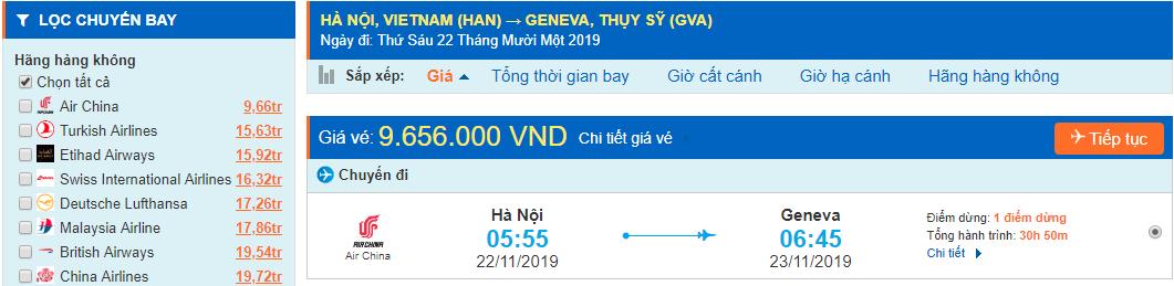 Vé máy bay đi Geneva từ Hà Nội