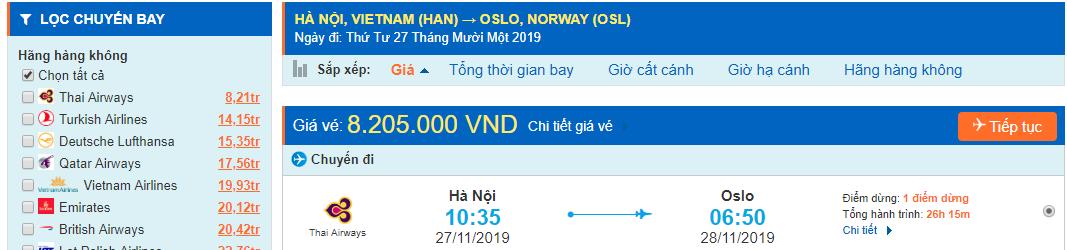 Vé máy bay từ Hà Nội đi Nauy