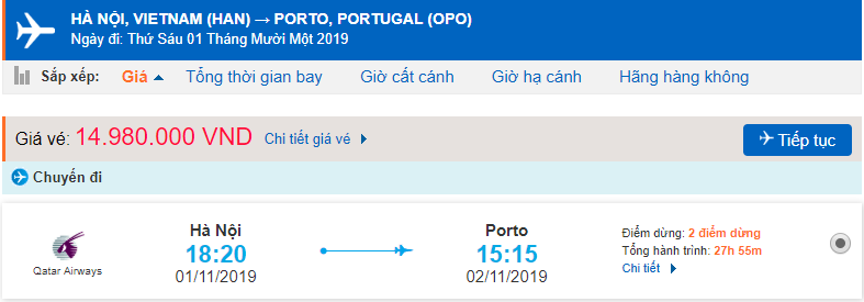 Vé máy bay đi Porto từ Hà Nội