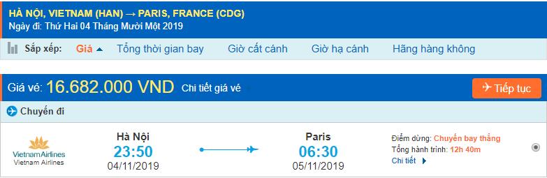 Vé máy bay đi Paris từ Hà Nội Vietnam Airlines