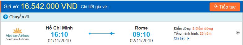 Vé máy bay đi Rome từ Hồ Chí Minh
