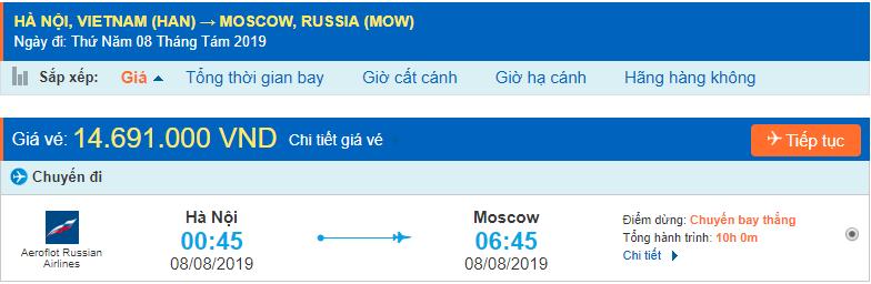 Vé máy bay đi Moscow từ Hà Nội