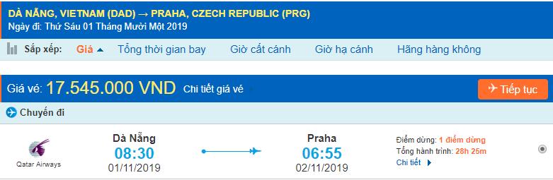 Vé máy bay đi Praha từ Đà Nẵng