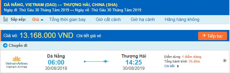 Vé máy bay đi Thượng Hải từ Đà Nẵng