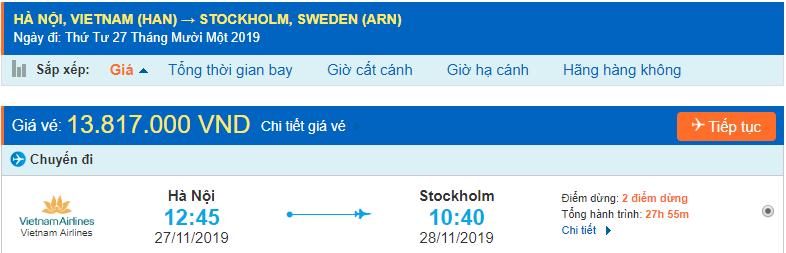 Vé máy bay đi Stockholm từ Hà Nội