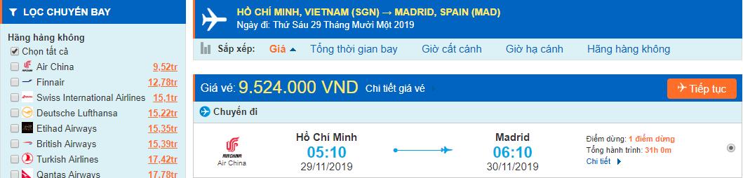 Vé máy bay đi Madrid từ Hồ Chí Minh