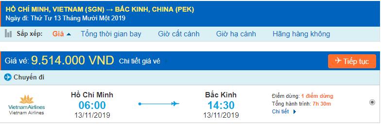Vémáy bay đi Bắc kinh từ Hồ Chí Minh