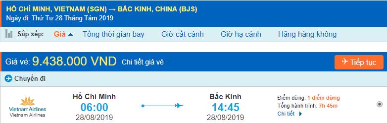 Vé máy đi Trung Quốc Bắc Kinh từ Hồ Chí Minh